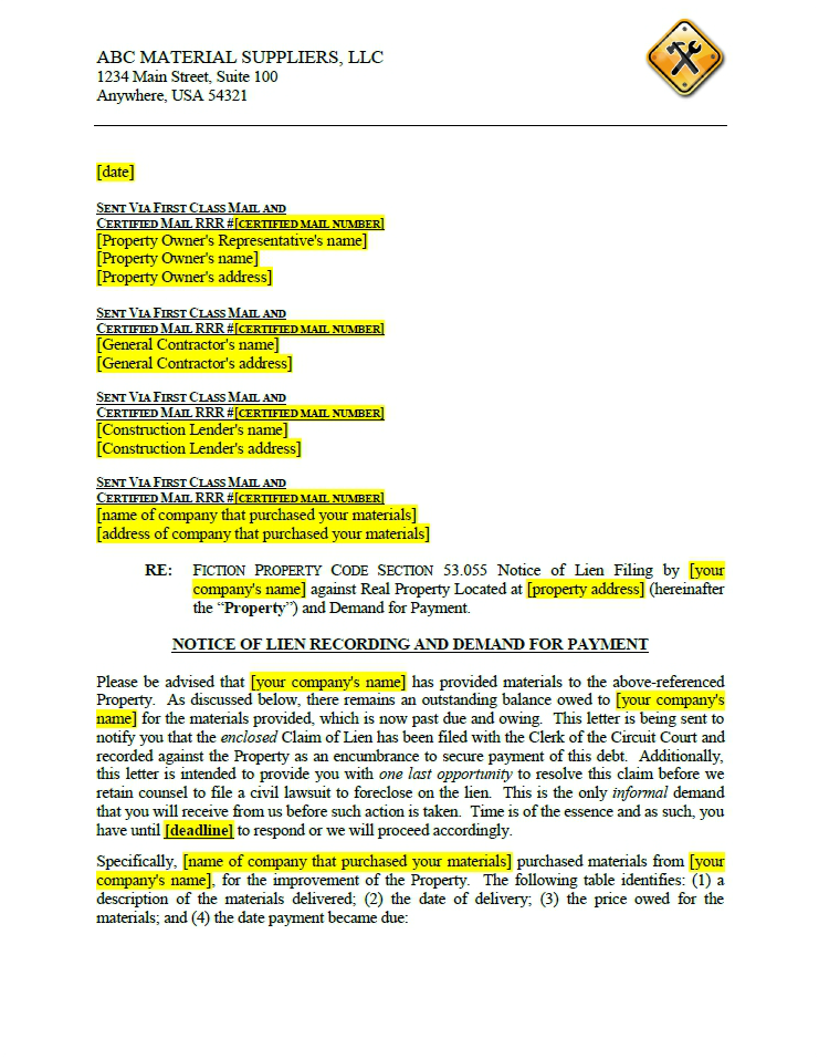 click here to view a sample cover letter to notice of lien filing for a fictitious. Resume Example. Resume CV Cover Letter