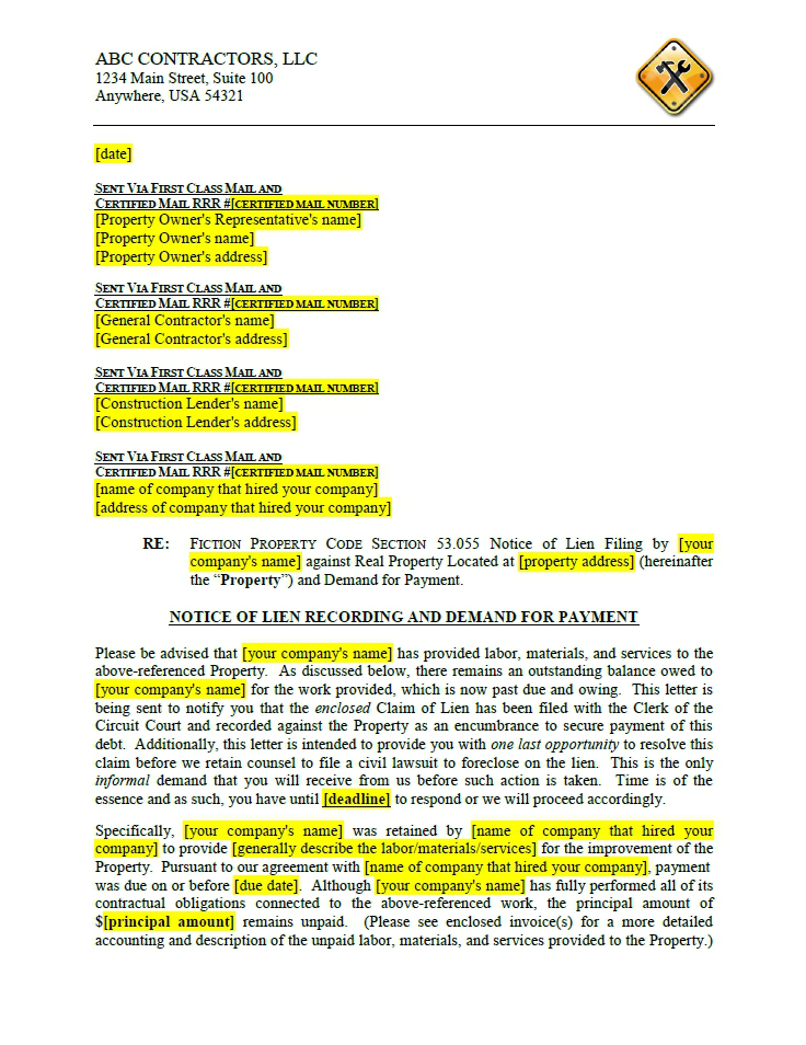 click here to view a sample cover letter to notice of lien filing for